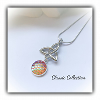 Classic Celtic Knot Pendant with Amber Mermaid Scale Cabochon Gift Boxed Xmas