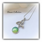 Classic Celtic Knot Pendant with Green Mermaid Scale Cabochon Gift Boxed Xmas