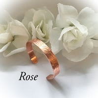 Copper Cuff Bangle with Rose Design Gift Boxed Birthday Christmas Gift Idea