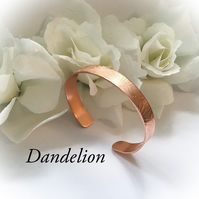 Copper Cuff Bangle with Dandelion Design Gift Boxed Birthday Christmas Gift Idea