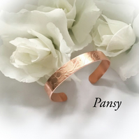 Copper Cuff Bangle with Pansy Design Gift Boxed Birthday Christmas Gift Idea
