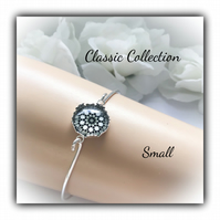 Small Silver Bangle with Black Glass Centre Gift Boxed Christmas Birthday Gift
