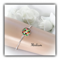 Medium Silver Bangle with Harlequin Centre Gift Boxed Christmas Birthday