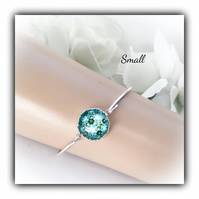 Small Silver Bangle with Turquoise Glass Cabochon Gift Boxed Christmas Birthday