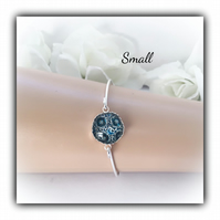 Small Silver Bangle With Blue & Black Glass Centre Gift Boxed Christmas Gift