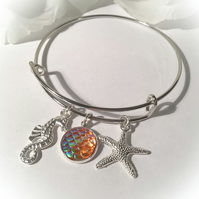 Adjustable Sea Life Bangle with Gold Mermaid Scale Gift Boxed Christmas Gift