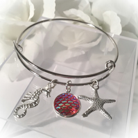 Adjustable Sea Life Bangle with Pink Mermaid Scale Gift Boxed Gift Idea