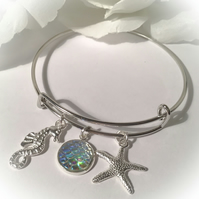 Adjustable Sea Life Bangle with Opal Mermaid Scale Gift Boxed Christmas Gift