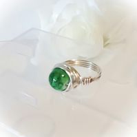 Handmade Green Marbled Glass Ring Size N by Cool Creations