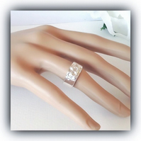 Handmade Fine Silver Chunky Ring with Cubic Zirconia - Size Medium