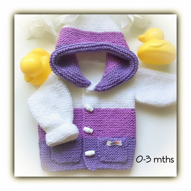 Purple & White Hand Knitted Hooded Baby Jacket 0-3 mths Gift Wrapped Gift