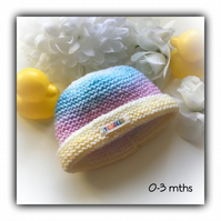 Pastel Rainbow Baby Hat Hand Knitted 0-3 mths Gift Wrapped Gift