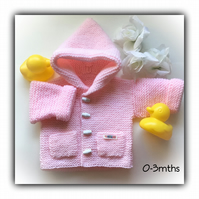 Pink Hand Knitted Baby Hoodie Jacket 0-3 mths Gift Wrapped Washable Acrylic