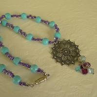 SALE - beaded filigree necklace
