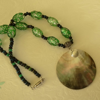SALE - green and black glass bead and shell necklace