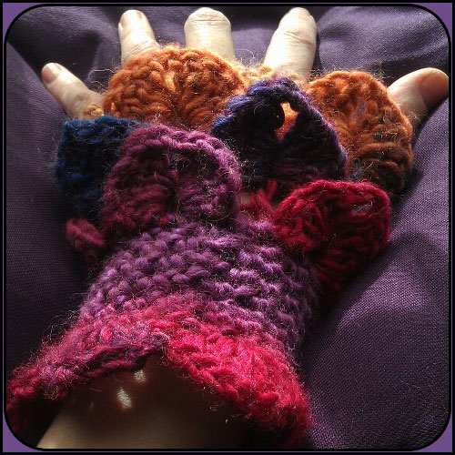 Dragon Gloves - Fingerless and Multicoloured with Pangolin Scales - M