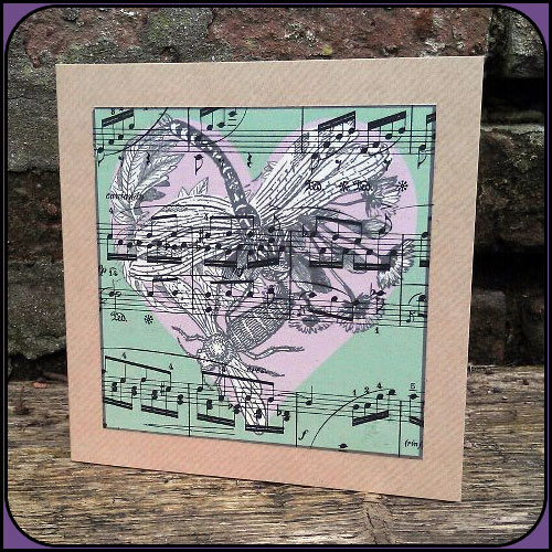 Music and Insects - Green and Lilac Heart Card - Blank inside