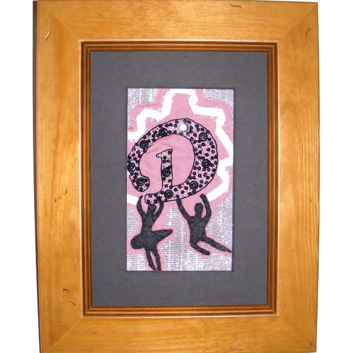 D is for dancers - framed embroidery
