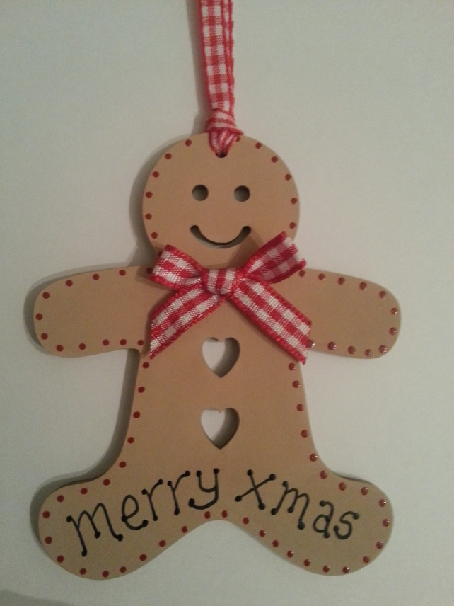 Wooden Christmas Gingerbread Man Gift Tag Or Christmas Tree Decoration