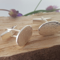 Hammered sterling silver cufflinks
