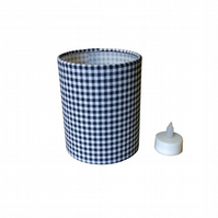 Charms Pretty Gingham Navy and White Fabric covered Lantern