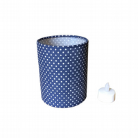 Charms Pretty Polka Dots Navy and White Fabric covered Lantern