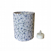 Charms Pretty Blue Floral on White Fabric covered Lantern