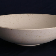 Large, white, hand thrown pottery fruit bowl with soft white speckle glaze