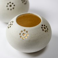 Hand thrown ceramic candle holder with white, stoney matt glaze