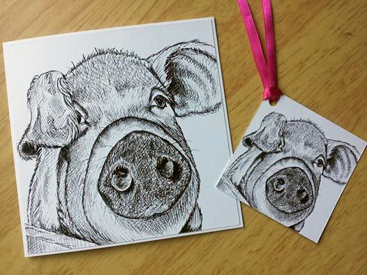 Pig greetings card and gift tag ( Pen and Ink drawing)