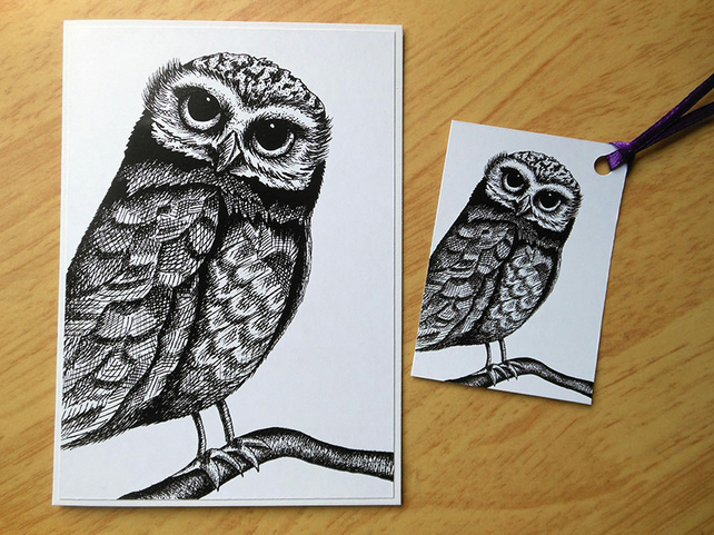 Owl on a branch - greetings card and gift tag