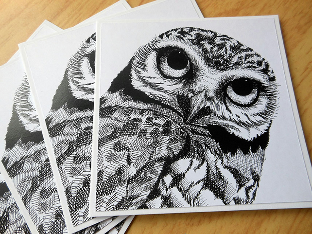 Burrowing Owl notecards x 4