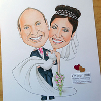 Wedding day cartoon portrait