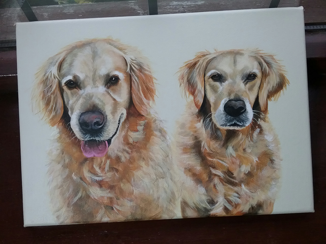 Custom A4 double pet portrait canvas - painted in acrylics, dog, cat art