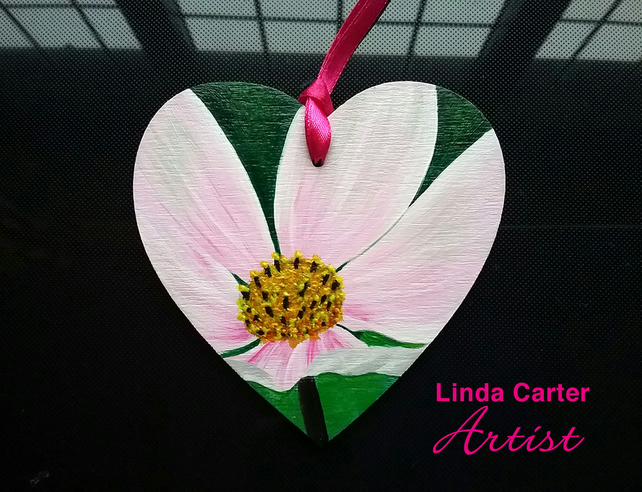 Hand painted flower - hanging wooden heart