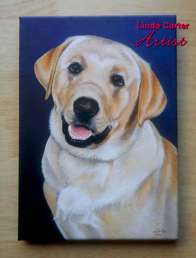 Pet portrait, A4 Acrylic painted canvas.  Dog, cat painting, custom order