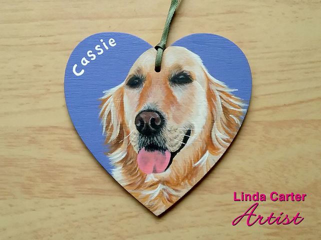 Custom wooden hanging heart pet portrait, dog, cat