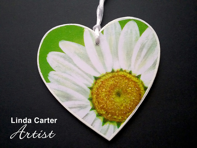Daisy art print decoupage heart