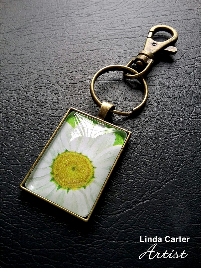 Daisy art print bag charm