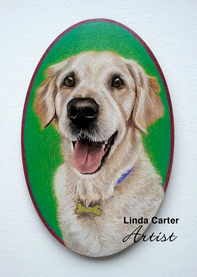 Pet portrait oval - colour pencil