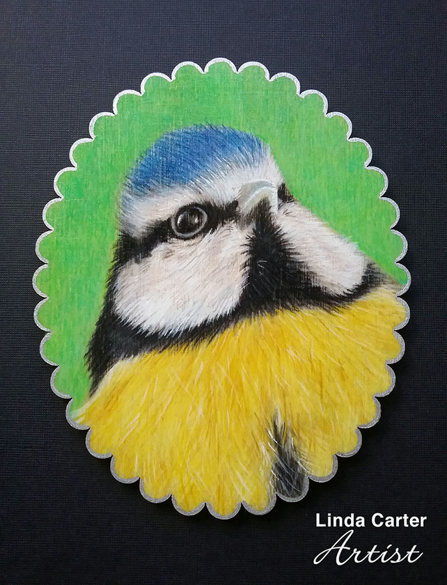 Blue tit portrait hanging decoration