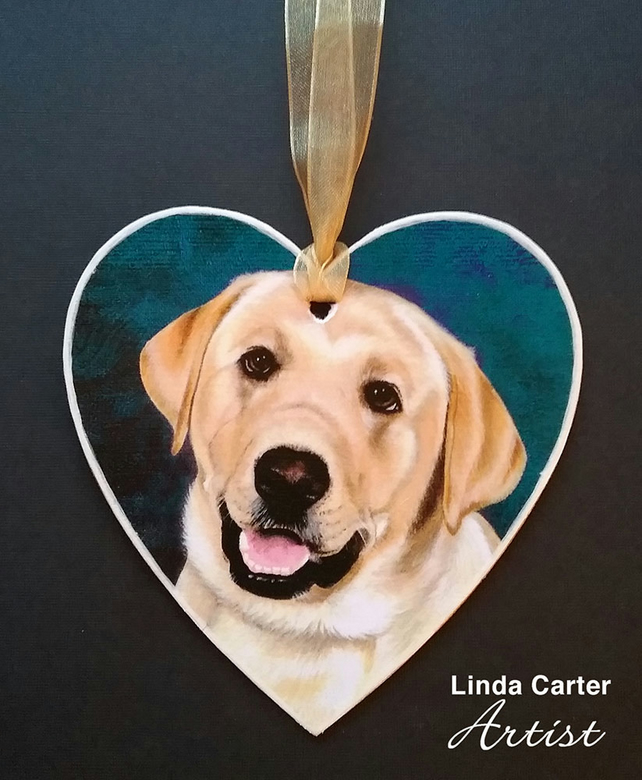 Labrador hanging heart decoration