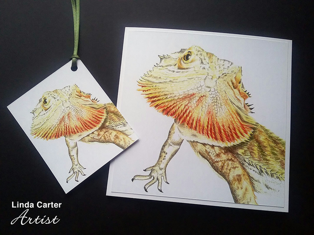 Bearded Dragon Card and Gift Tag (Square)