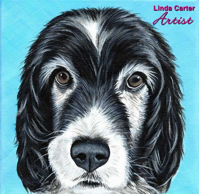 "Custom single pet portrait 8"" square, painted in acrylics. Dog, cat painting."