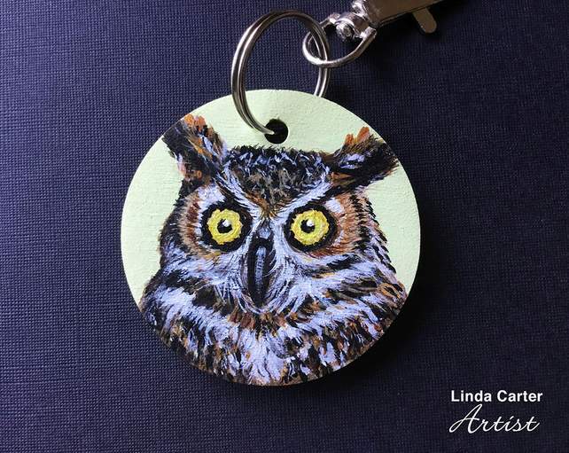 Hand painted owl bag charm