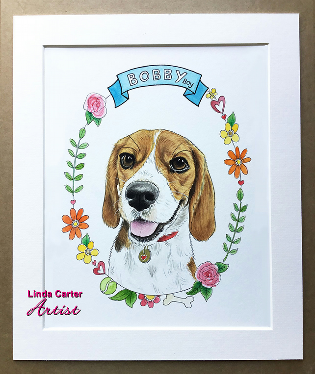 Custom watercolour, dog, cat, pet portrait illustration with flower wreath
