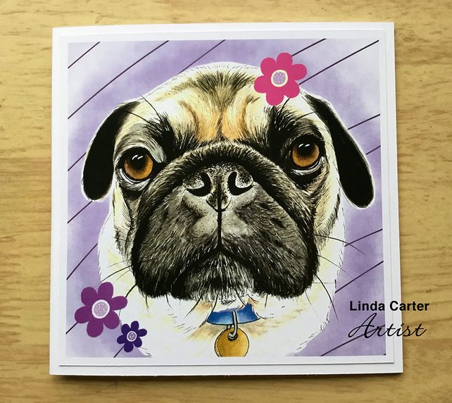 Pug dog  birthday and greetings card
