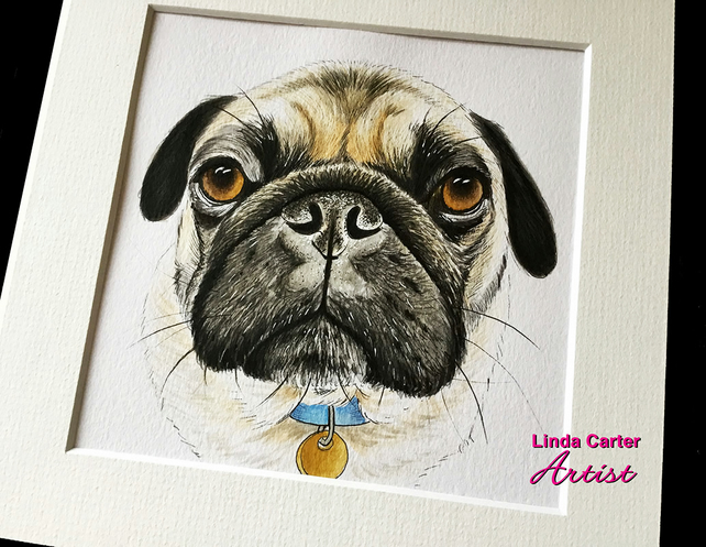 Custom Pet portrait, Painting, illustration, watercolour, cat, dog art