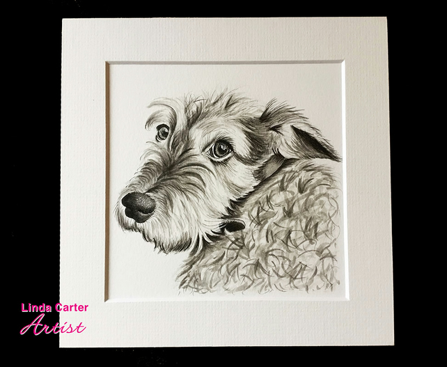 Pet sketch - pen & ink, dog, cat artwork