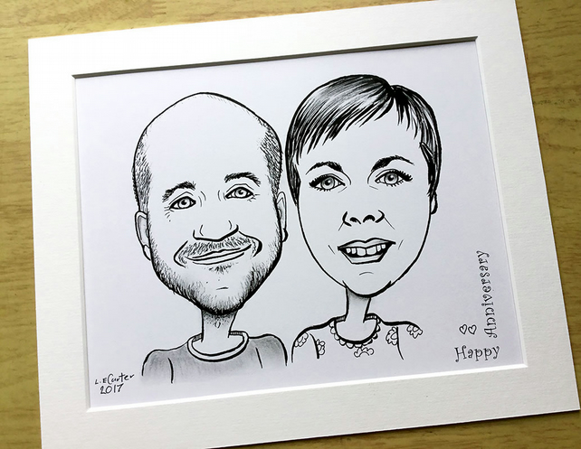 Couples cartoon caricature, black and white illustration, drawing